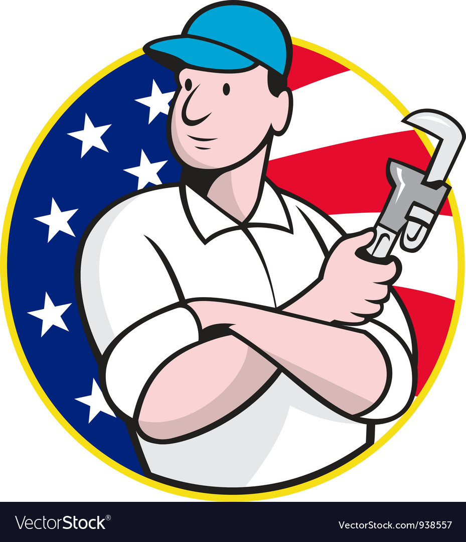 American plumber worker with adjustable wrench vector | Price: 3 Credit (USD $3)