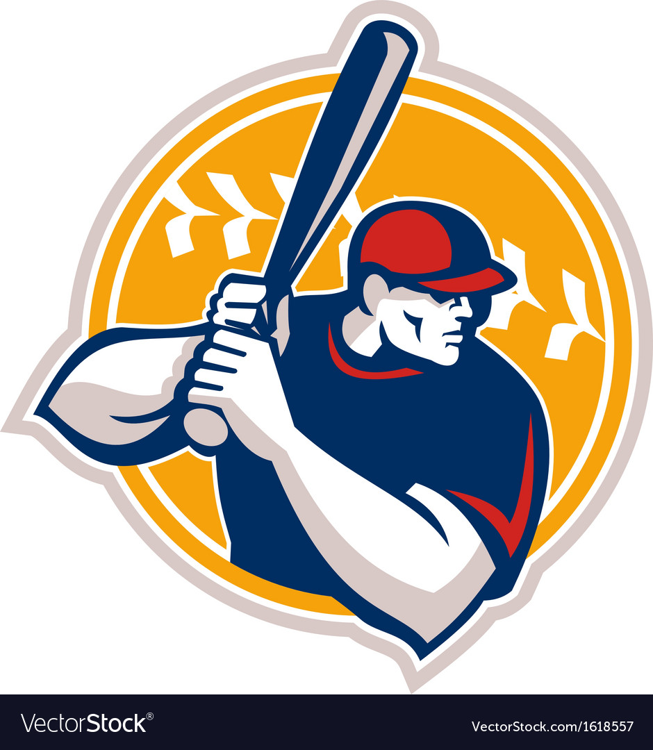 Baseball batter hitter batting side retro vector | Price: 1 Credit (USD $1)