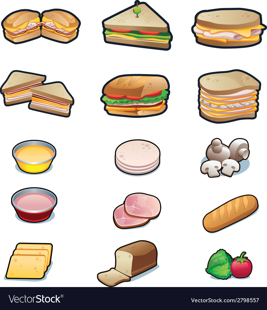 Food sandwiches and ingredients set vector | Price: 1 Credit (USD $1)