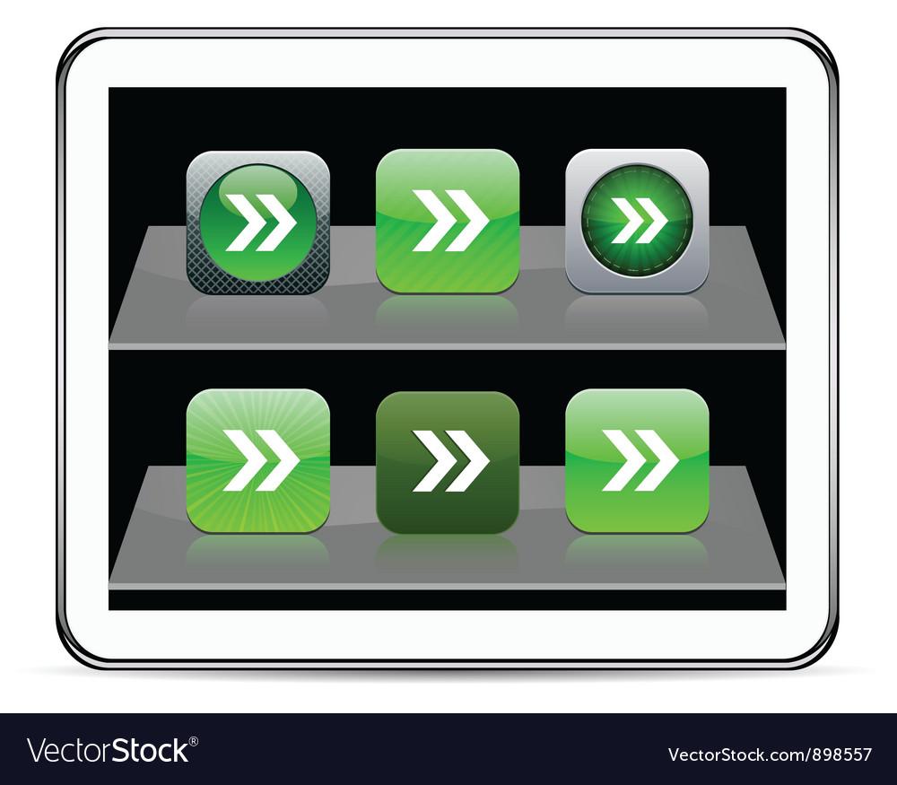 Forward arrow green app icons vector | Price: 1 Credit (USD $1)