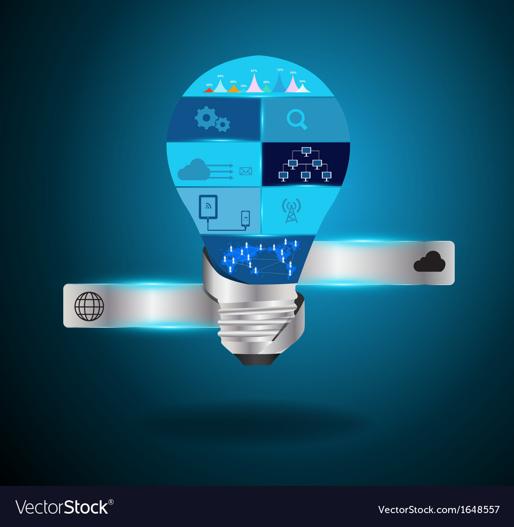 Light bulb idea with modern technology vector | Price: 1 Credit (USD $1)