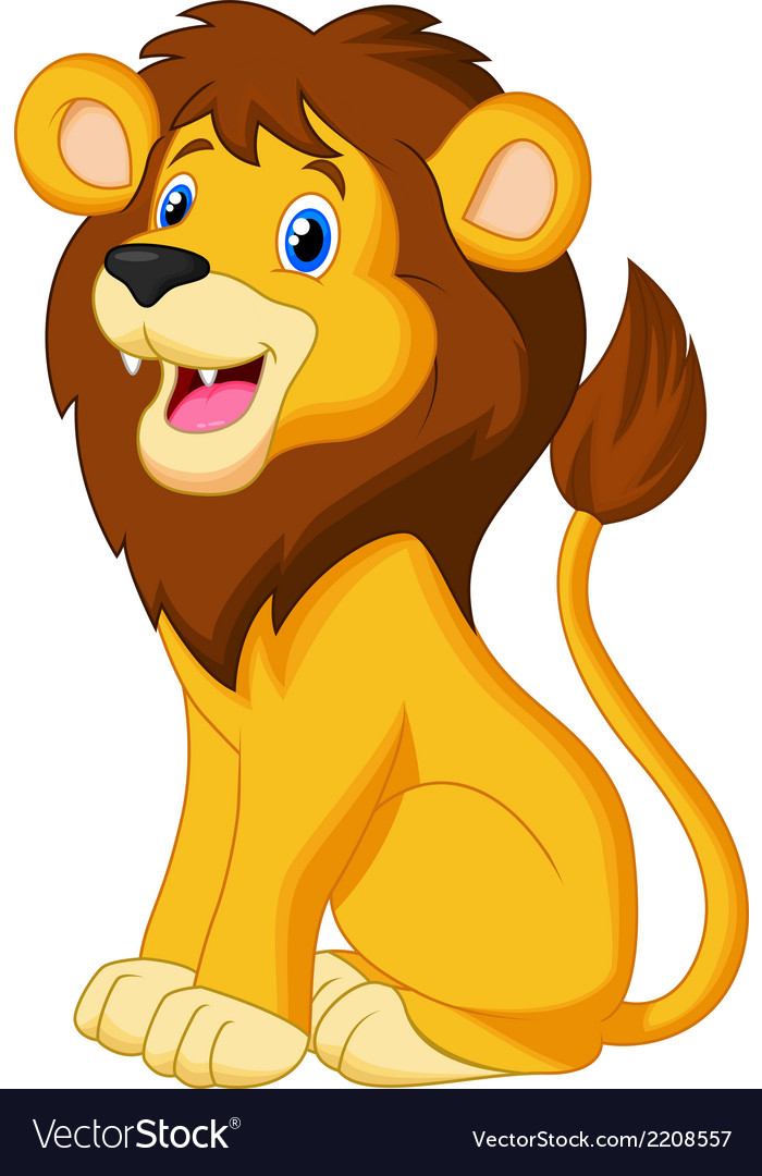 Lion cartoon sitting vector | Price: 1 Credit (USD $1)