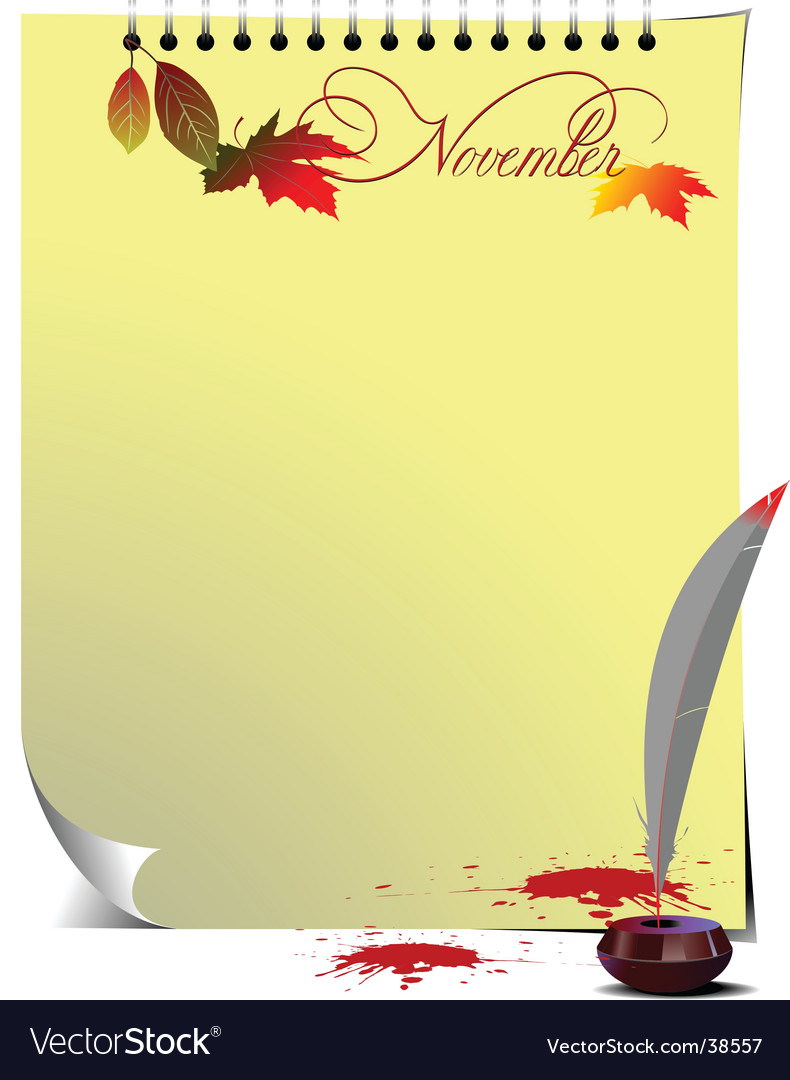 Note page november vector | Price: 1 Credit (USD $1)