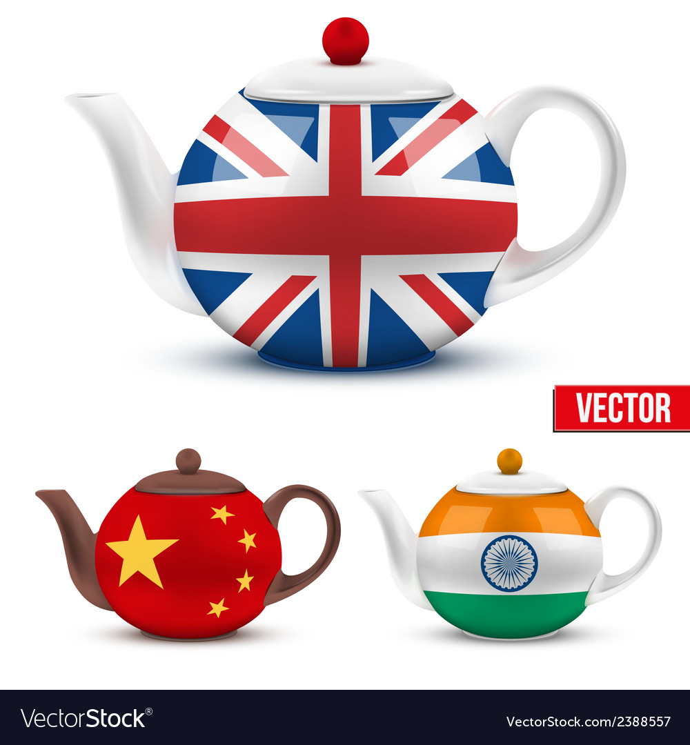 Set of ceramic teapot with flag british india and vector | Price: 1 Credit (USD $1)