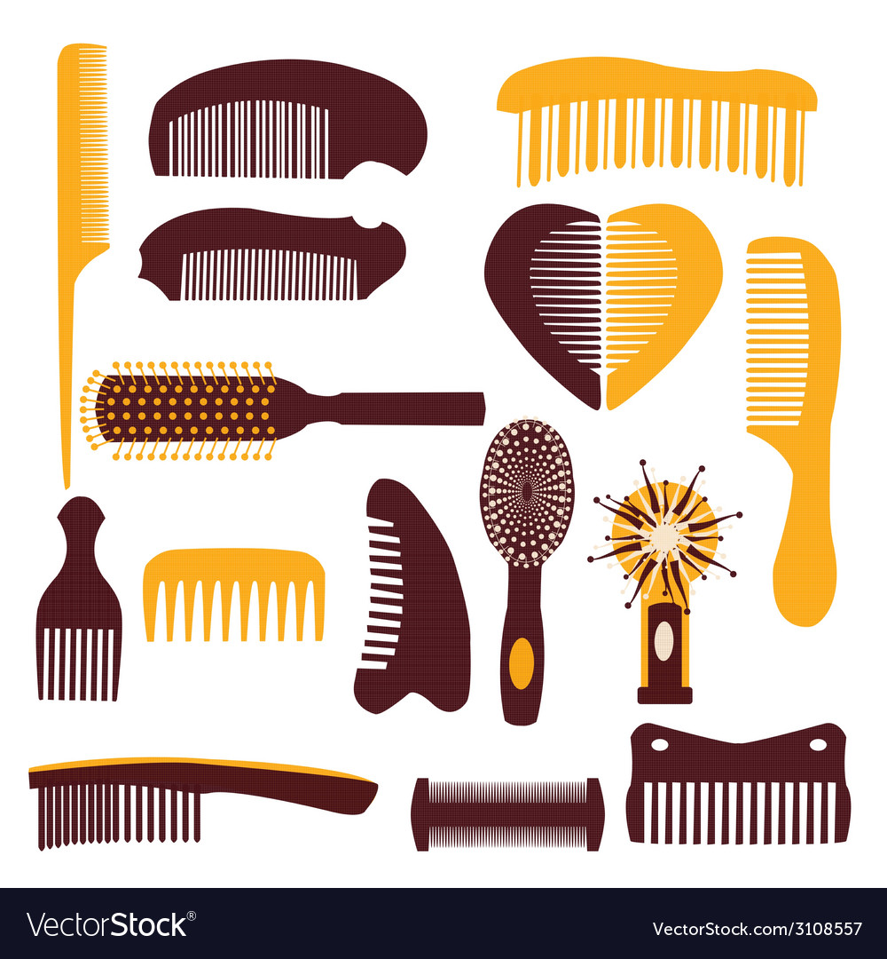 Set of combs on a white background vector | Price: 1 Credit (USD $1)