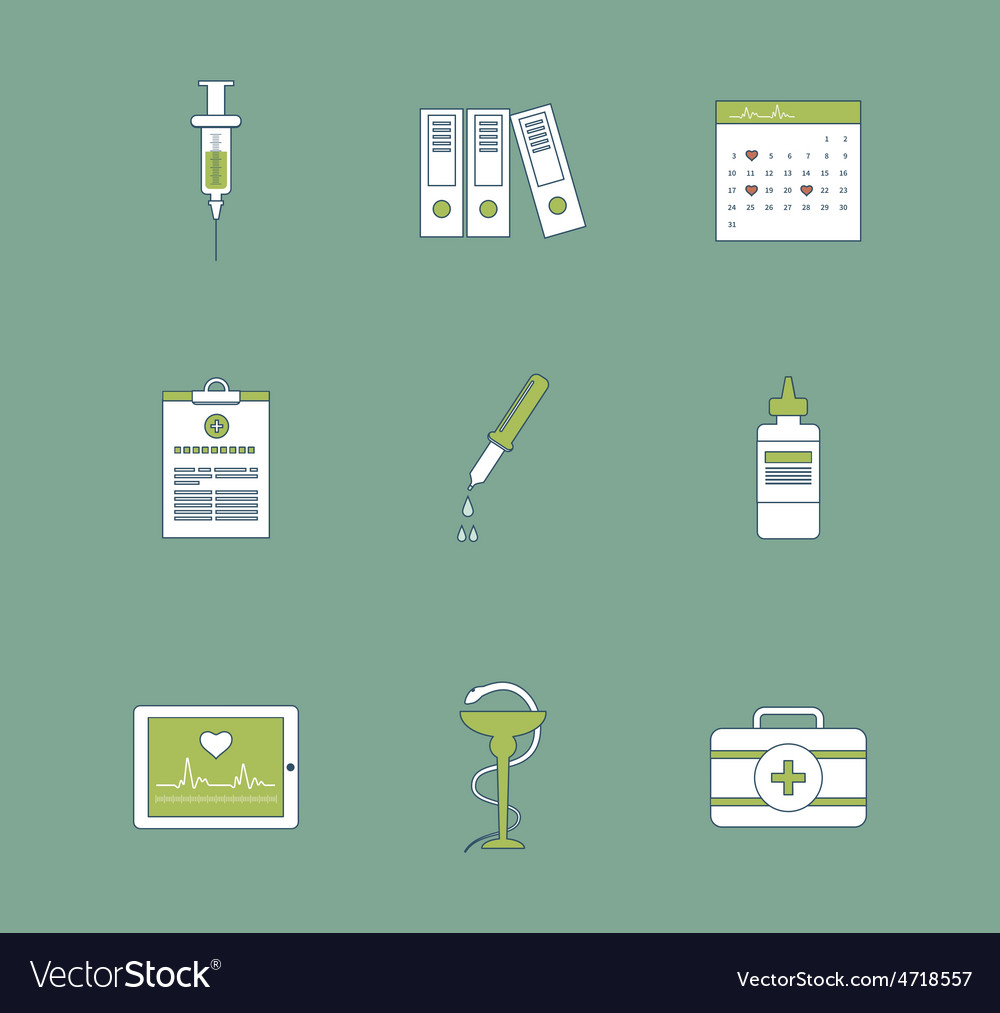Set of medical icons healthcare system concept vector | Price: 1 Credit (USD $1)