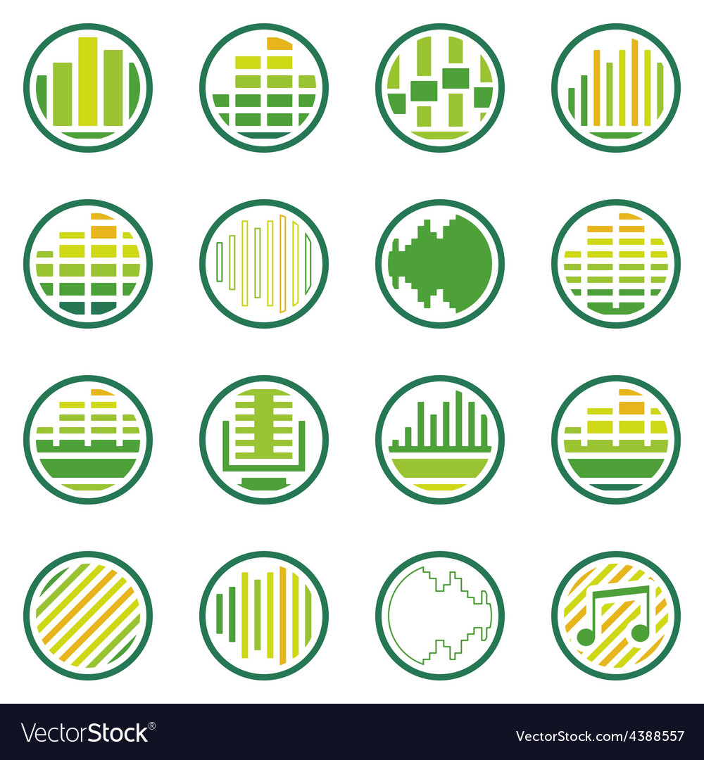 Sound or music round icons set vector | Price: 1 Credit (USD $1)