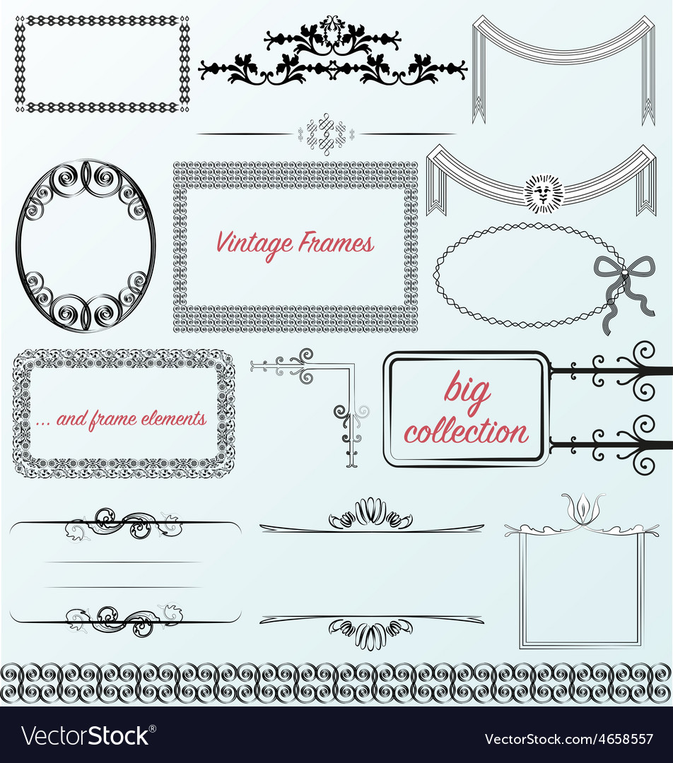 Vintage frames calligraphic collection borders vector | Price: 3 Credit (USD $3)