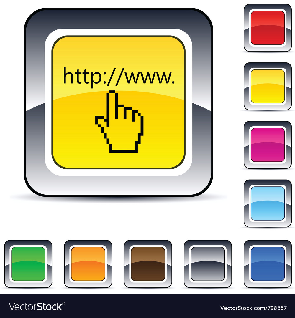 Www click square button vector | Price: 1 Credit (USD $1)