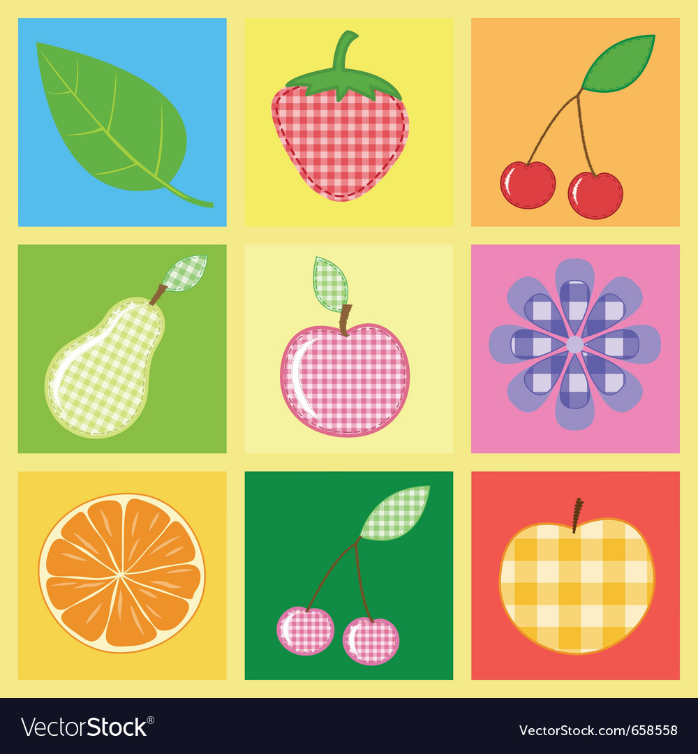 Applique fruits and berries vector | Price: 1 Credit (USD $1)