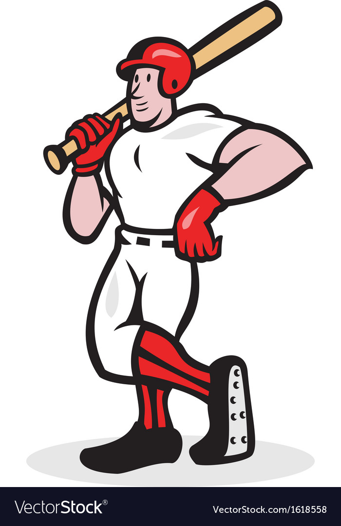 Baseball hitter bat shoulder cartoon vector | Price: 1 Credit (USD $1)