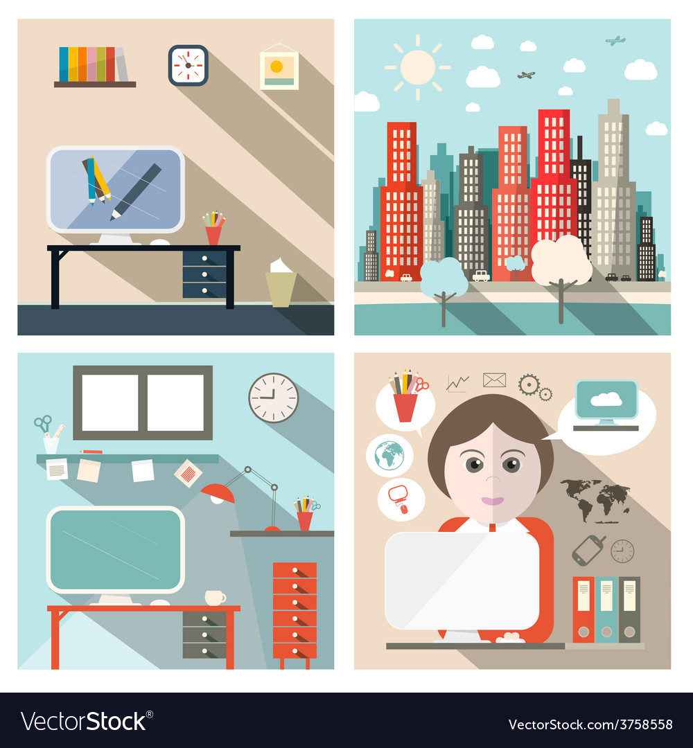 Business and school exterior and interior flat vector | Price: 1 Credit (USD $1)
