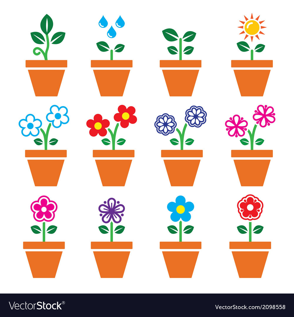 Flower plant in pot colorful icons set vector | Price: 1 Credit (USD $1)
