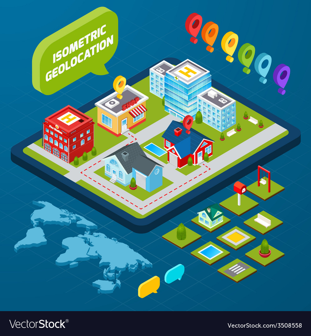Isometric geolocation concept vector | Price: 1 Credit (USD $1)