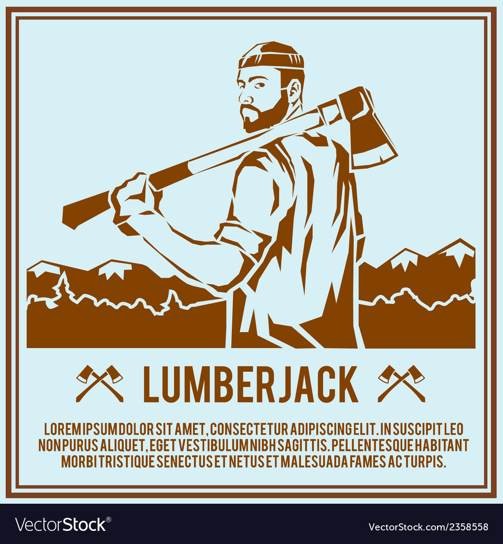 Lumberjack woodcutter poster vector | Price: 1 Credit (USD $1)