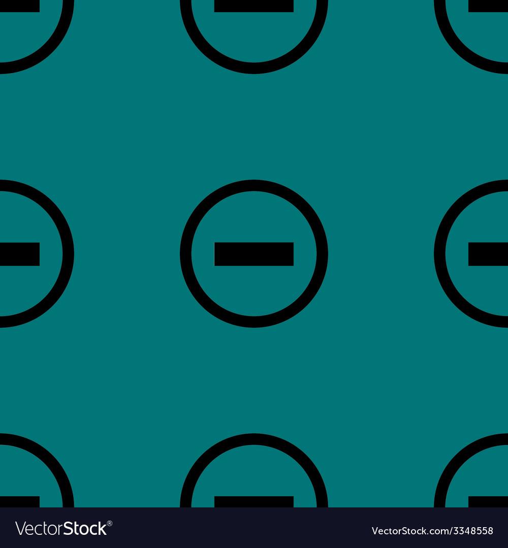 Minus web icon flat design seamless pattern vector | Price: 1 Credit (USD $1)