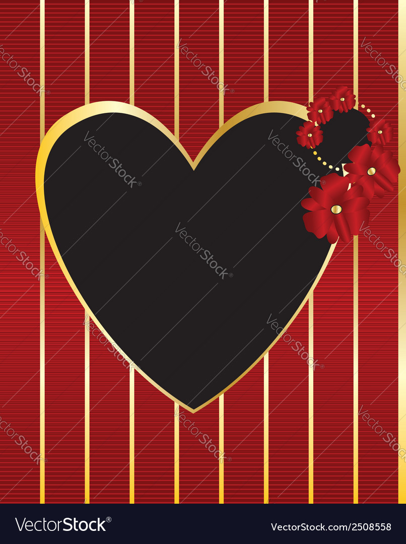 Red gold black heart frame background vector | Price: 1 Credit (USD $1)