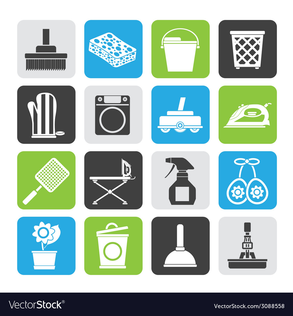 Silhouette household objects and tools icons vector | Price: 1 Credit (USD $1)