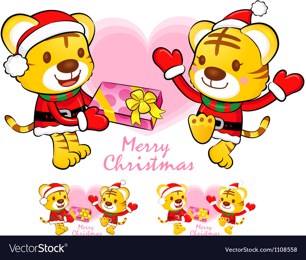 Tiger santa claus and deer mascot vector | Price: 1 Credit (USD $1)