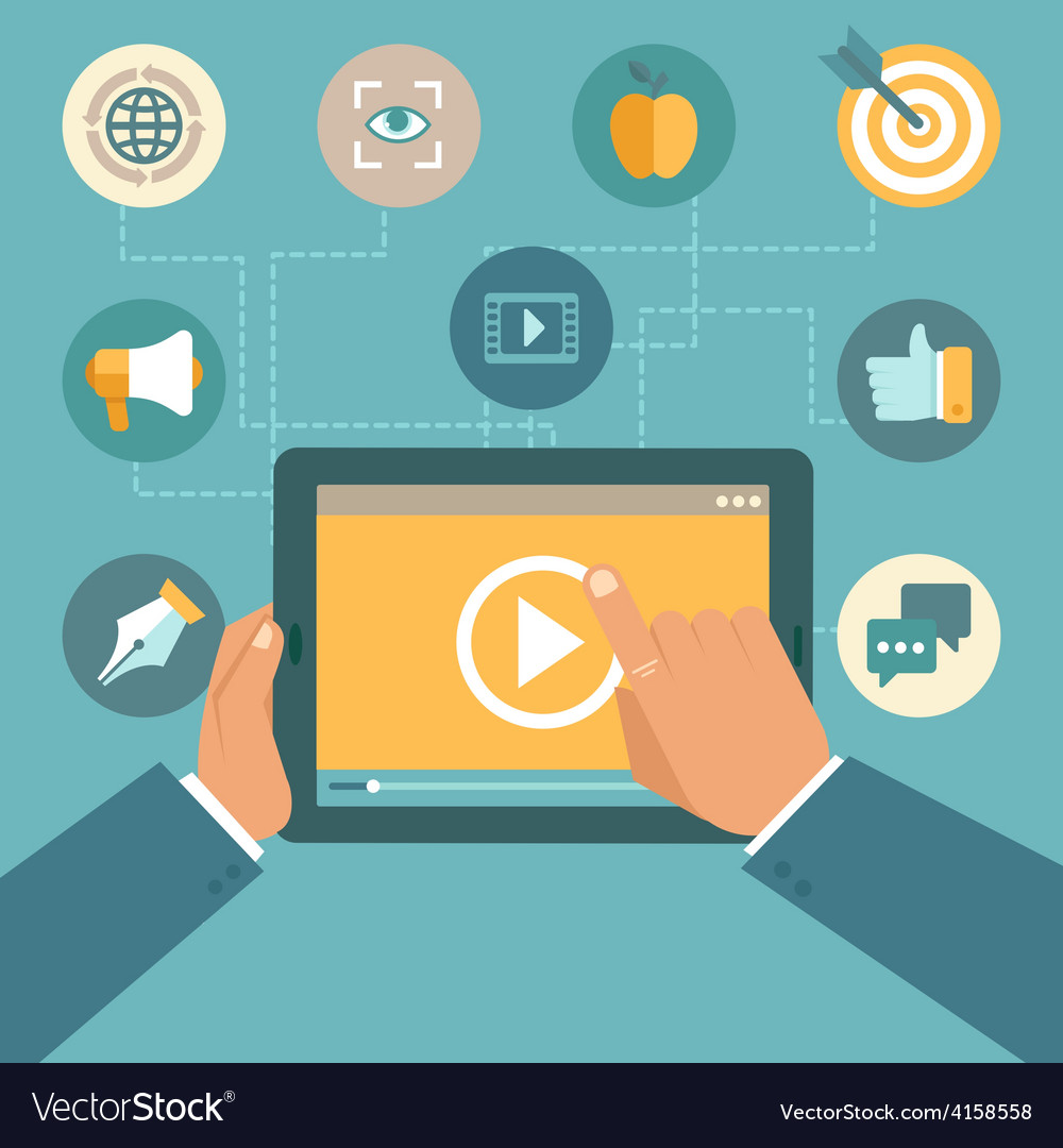 Video marketing concept in flat style vector   Price: 1 Credit (USD $1)