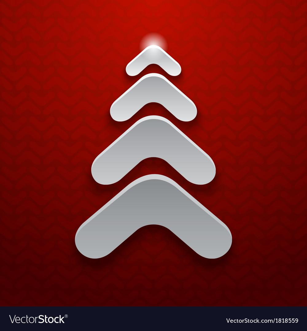 Abstract white christmas tree on red background vector | Price: 1 Credit (USD $1)