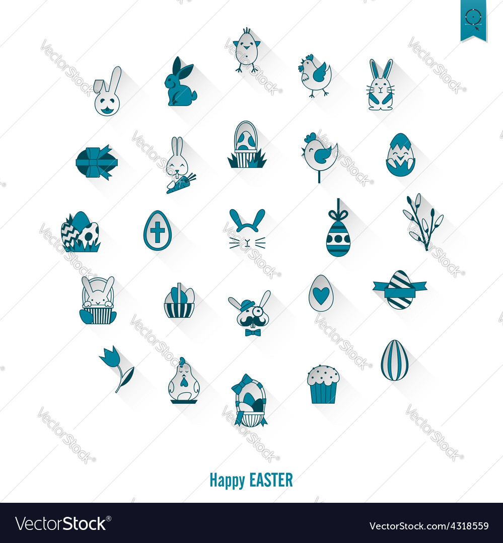 Celebration easter icons vector | Price: 1 Credit (USD $1)