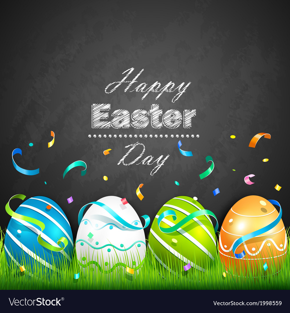 Easter eggs and confetti vector | Price: 1 Credit (USD $1)