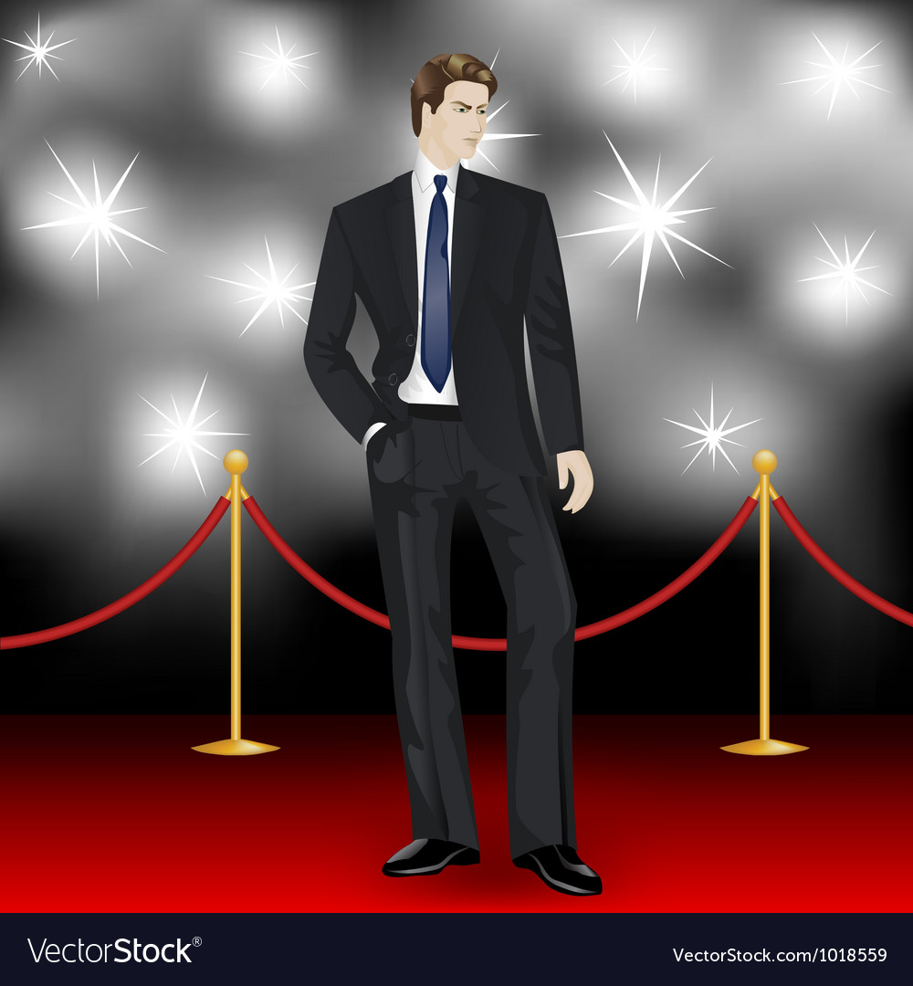 Elegant man in suit on red carpet vector | Price: 1 Credit (USD $1)
