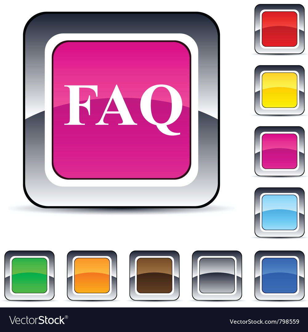 Faq square button vector | Price: 1 Credit (USD $1)