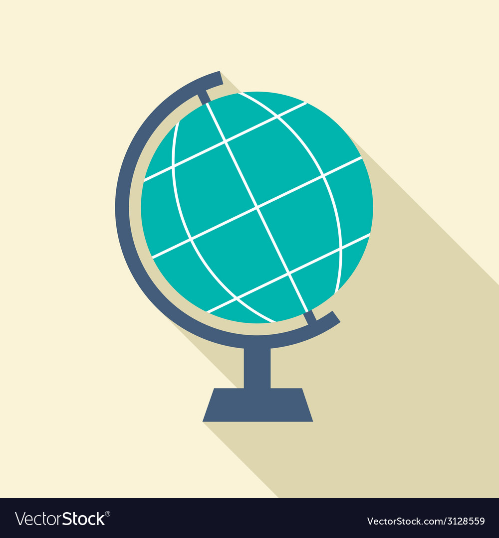 Flat design desktop globe vector | Price: 1 Credit (USD $1)