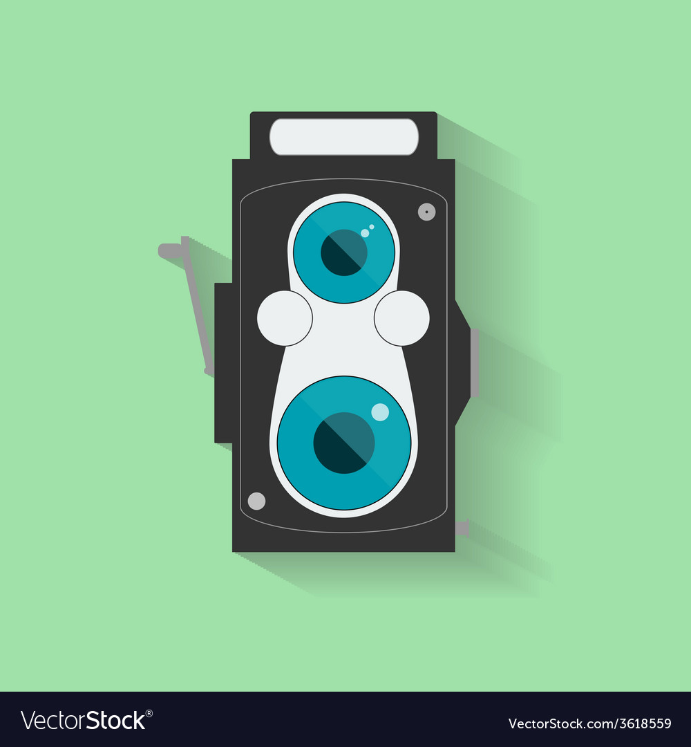 Flat vintage camera icon isolated on green vector | Price: 1 Credit (USD $1)