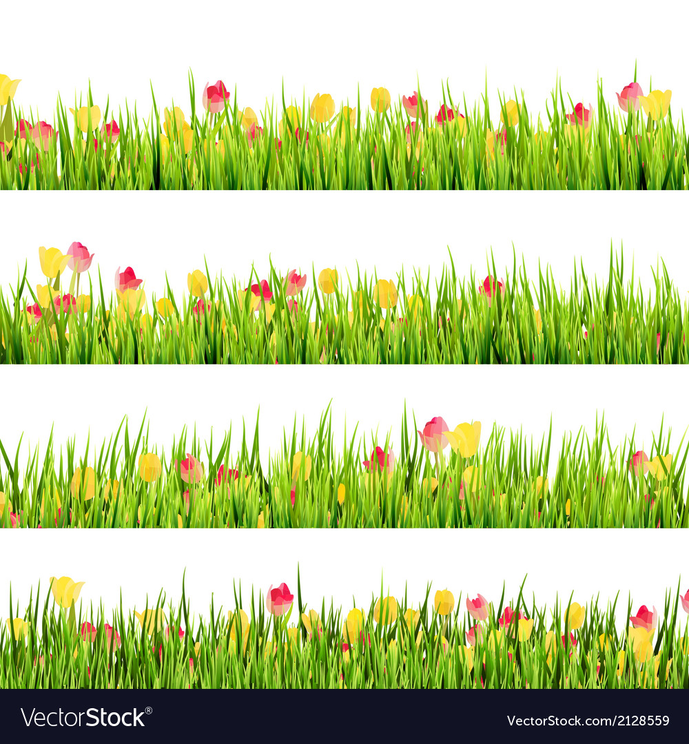 Green grass and beautiful spring flowers eps 10 vector | Price: 1 Credit (USD $1)