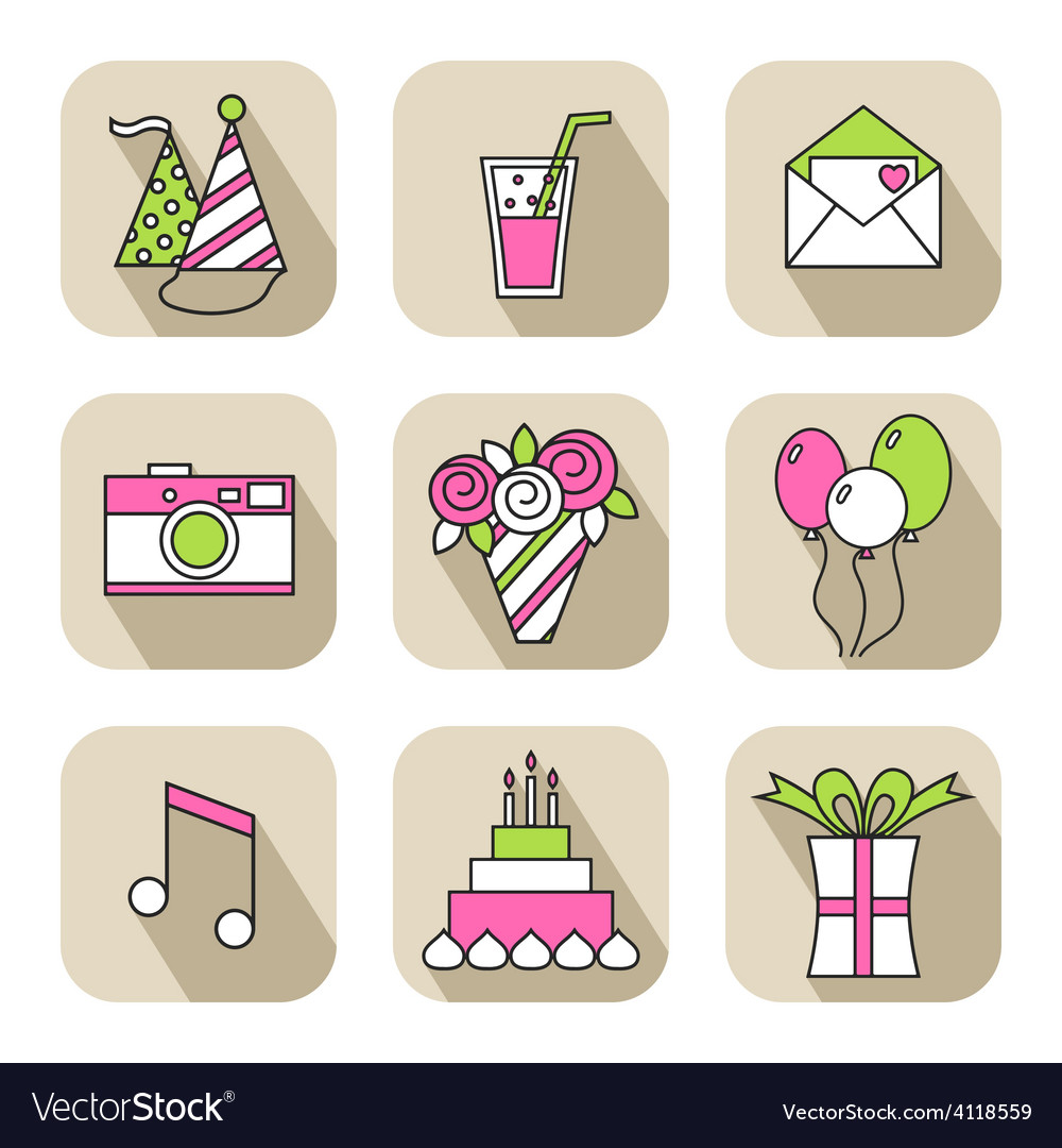 Holiday flat icons happy birthday set vector | Price: 1 Credit (USD $1)