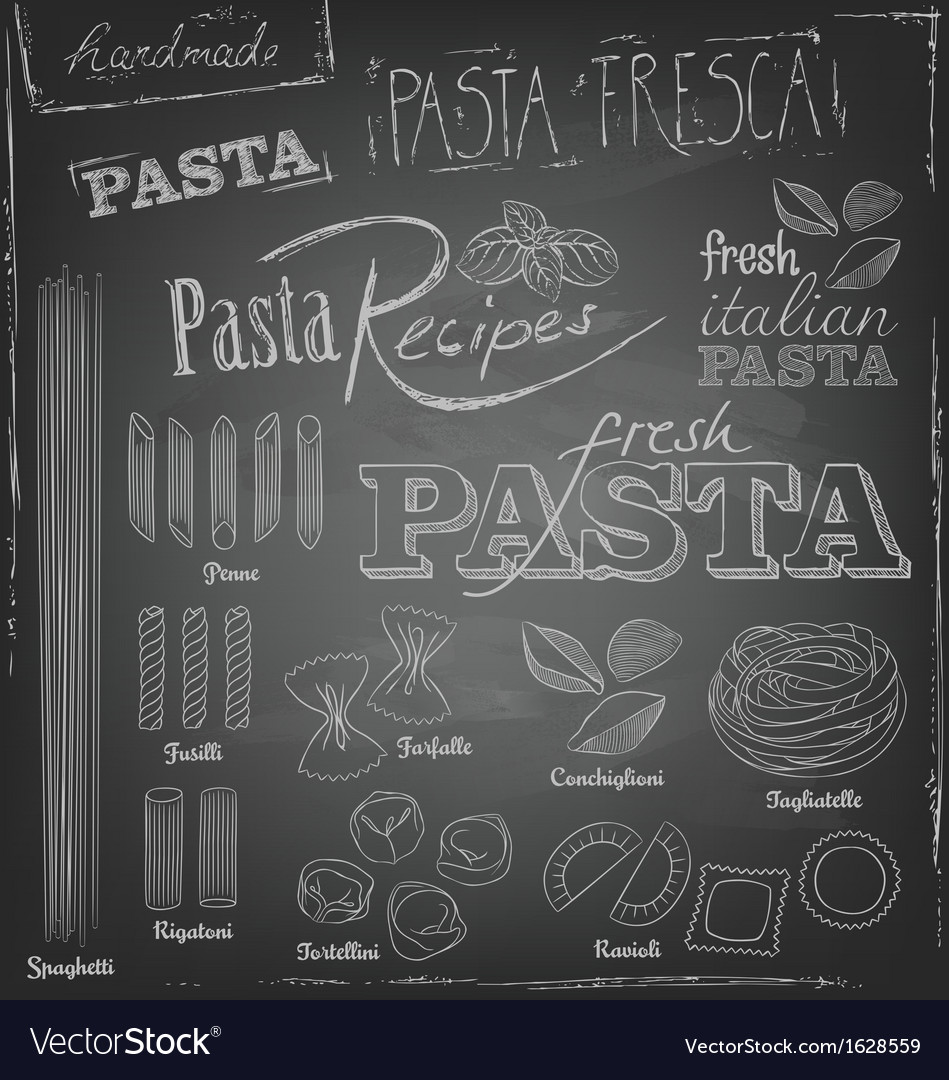 Pasta and chalk typography on a chalkboard vector | Price: 1 Credit (USD $1)