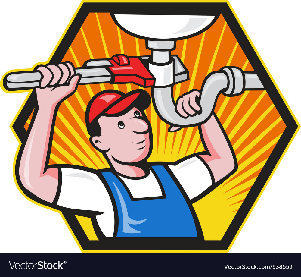 Plumber worker with adjustable wrench vector | Price: 3 Credit (USD $3)
