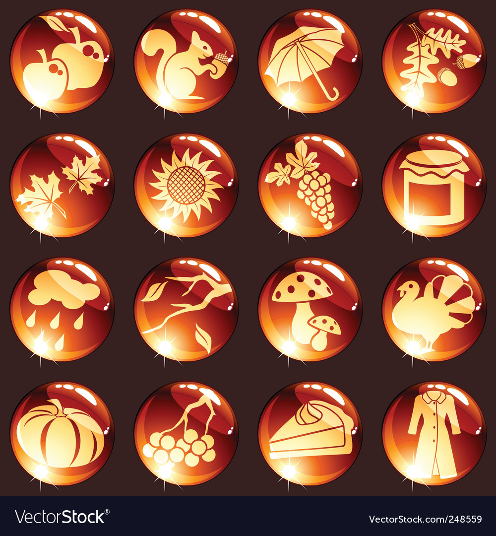 Set of red autumn icons vector | Price: 1 Credit (USD $1)