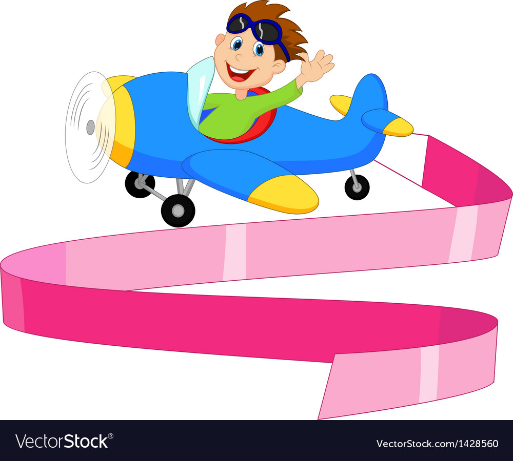 Cartoon little boy operating a plane with blank s vector   Price: 1 Credit (USD $1)