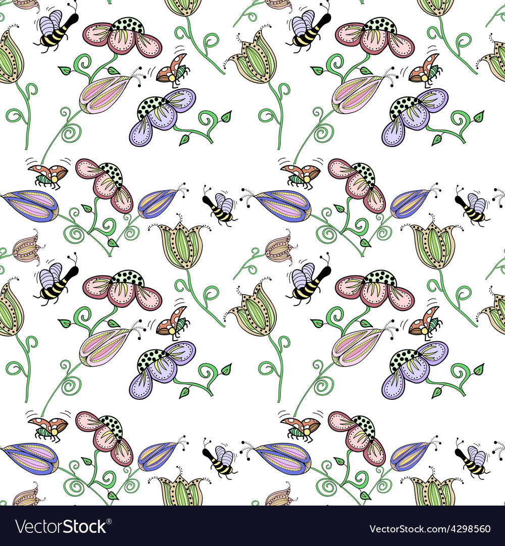 Cork background of flowers leaves bees and vector | Price: 1 Credit (USD $1)
