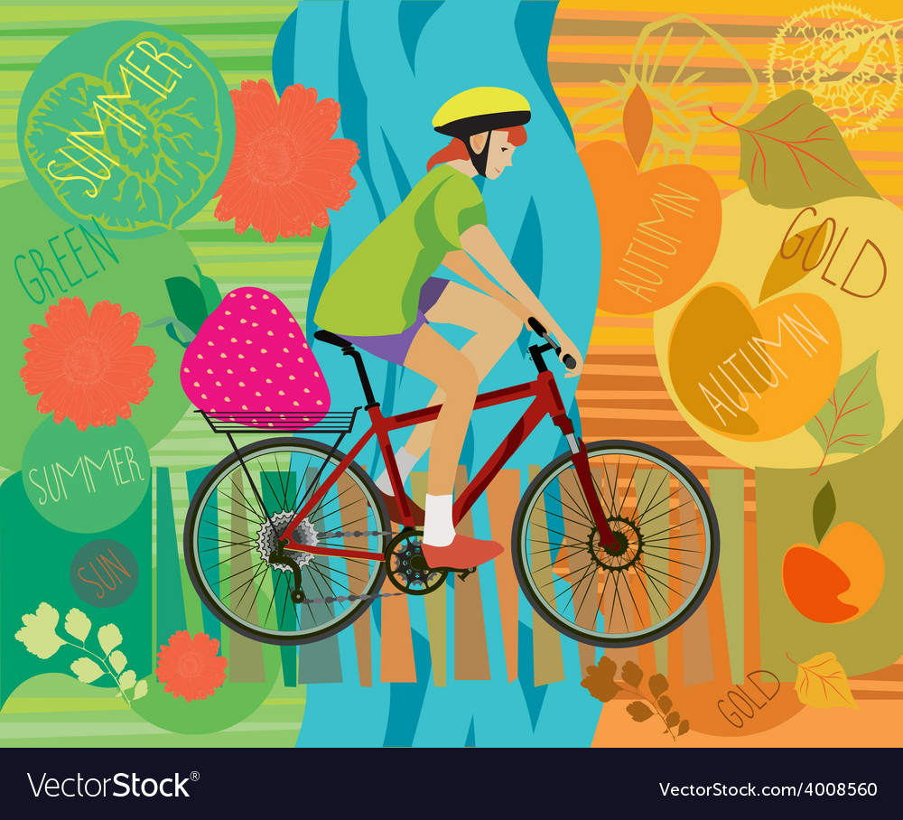 Girl on a bicycle vector   Price: 1 Credit (USD $1)