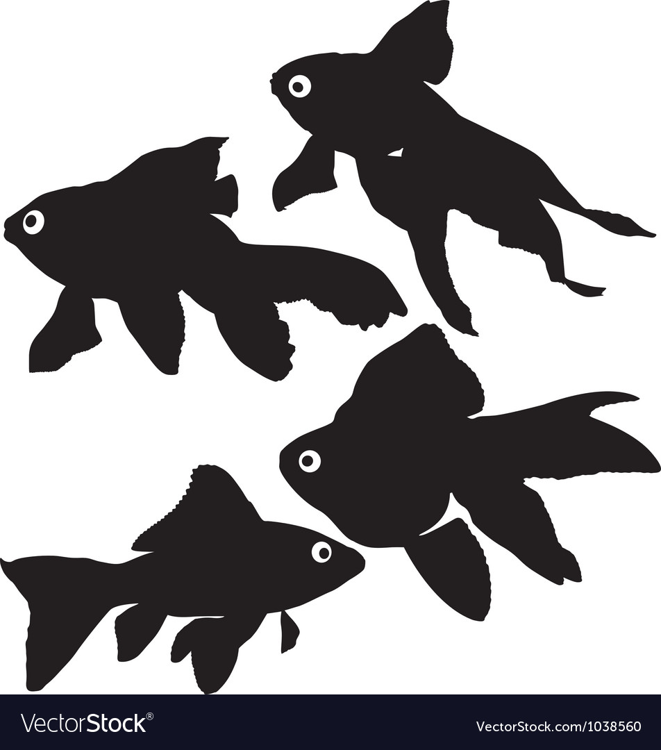Goldfish or common fish silhouette vector | Price: 1 Credit (USD $1)