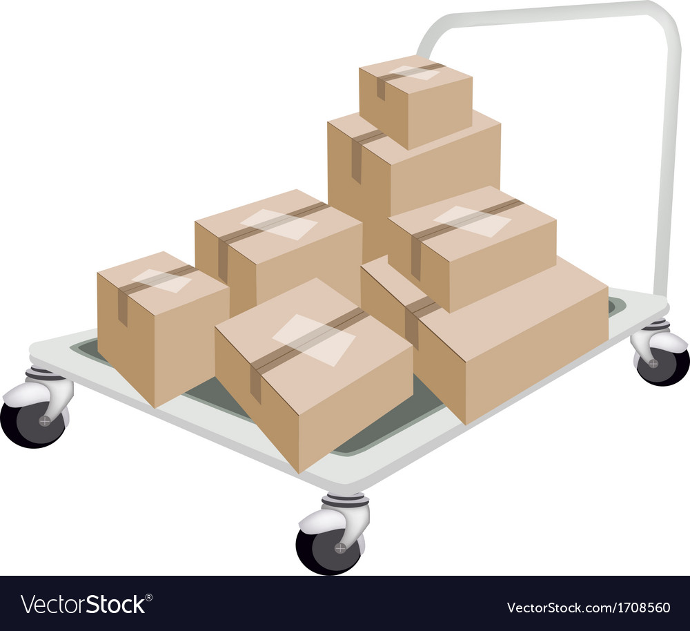 Hand truck loading stack of shipping boxes vector | Price: 1 Credit (USD $1)