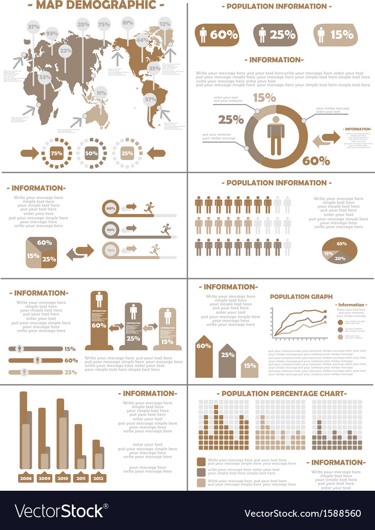 Infographic demographics population 3 brown vector | Price: 1 Credit (USD $1)