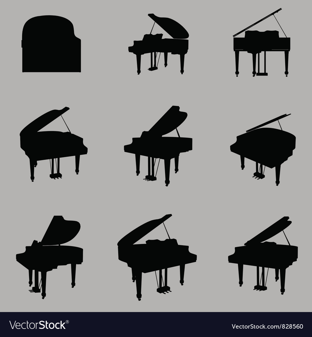 Piano silhouette vector | Price: 1 Credit (USD $1)