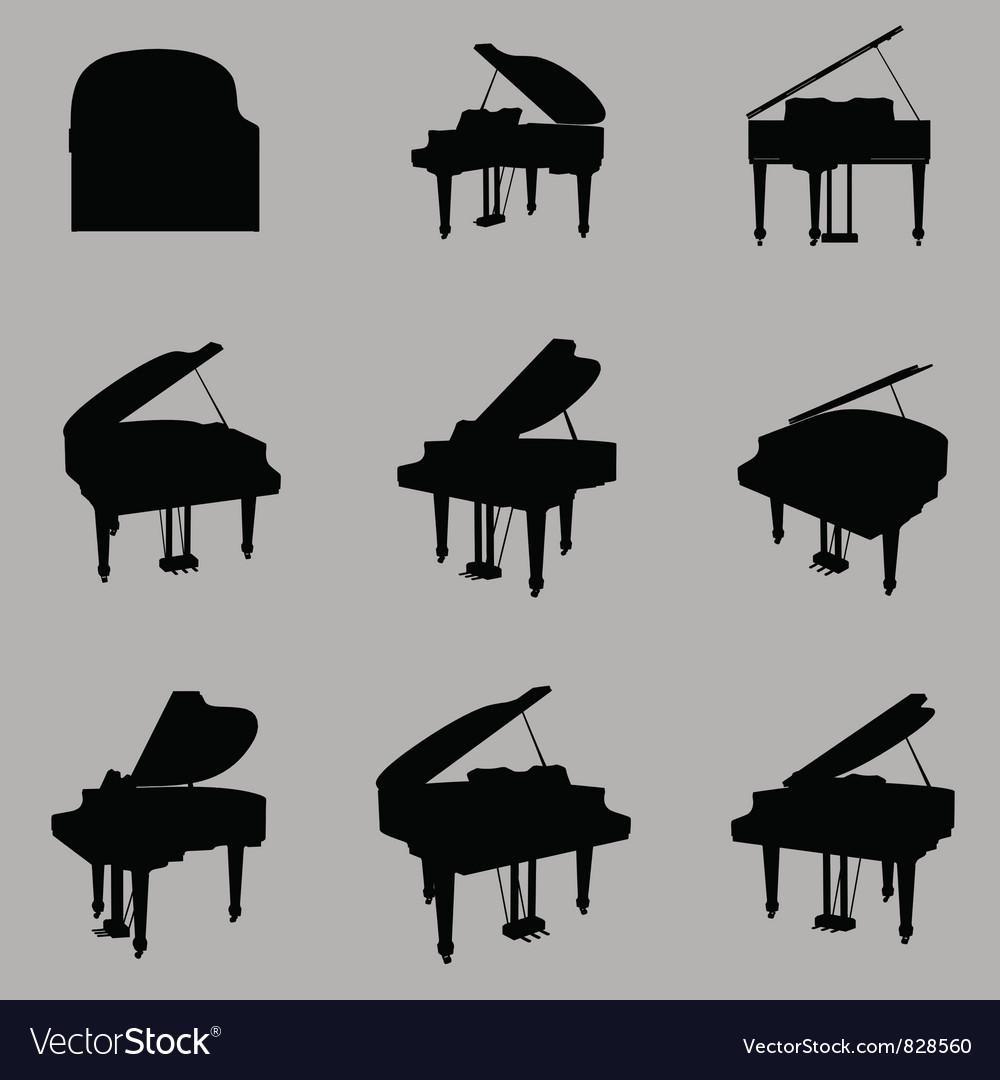 Piano silhouette vector | Price: 1 Credit (USD $1)