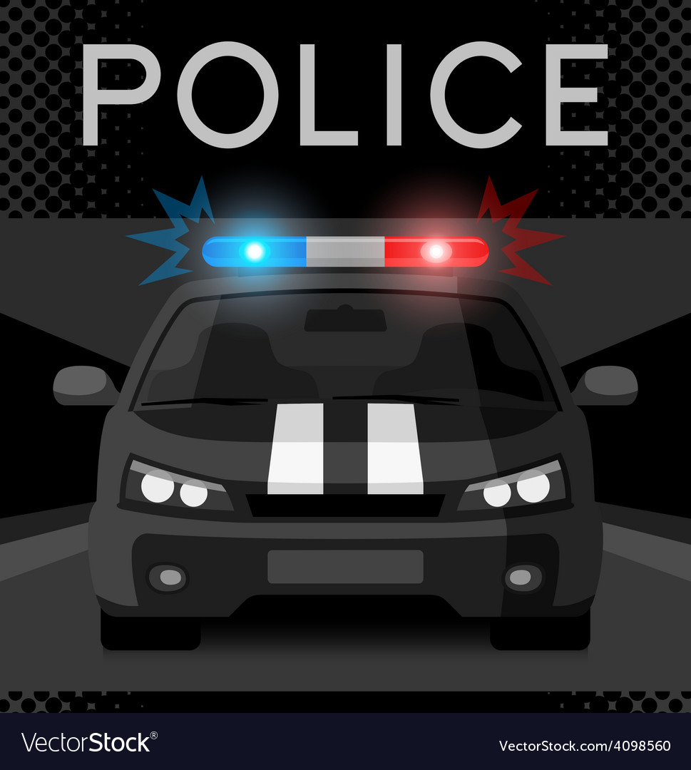 Police car with flash light vector | Price: 1 Credit (USD $1)