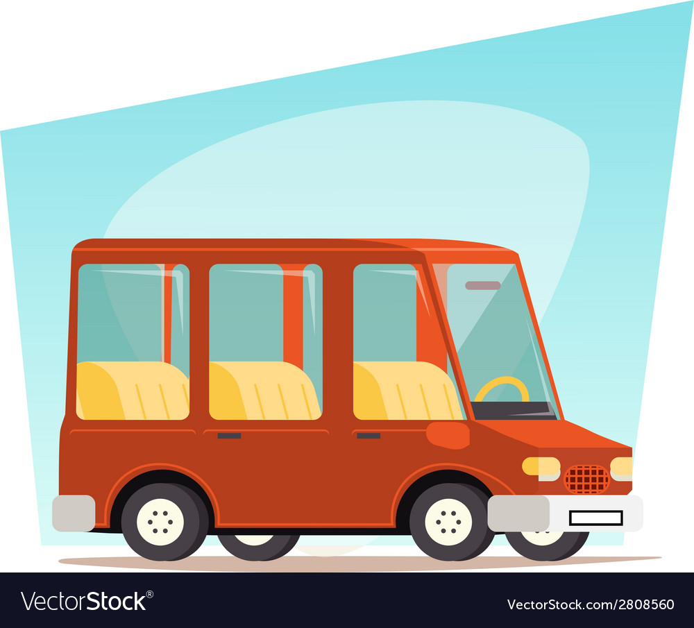 Retro cartoon car family travel van icon modern vector | Price: 1 Credit (USD $1)