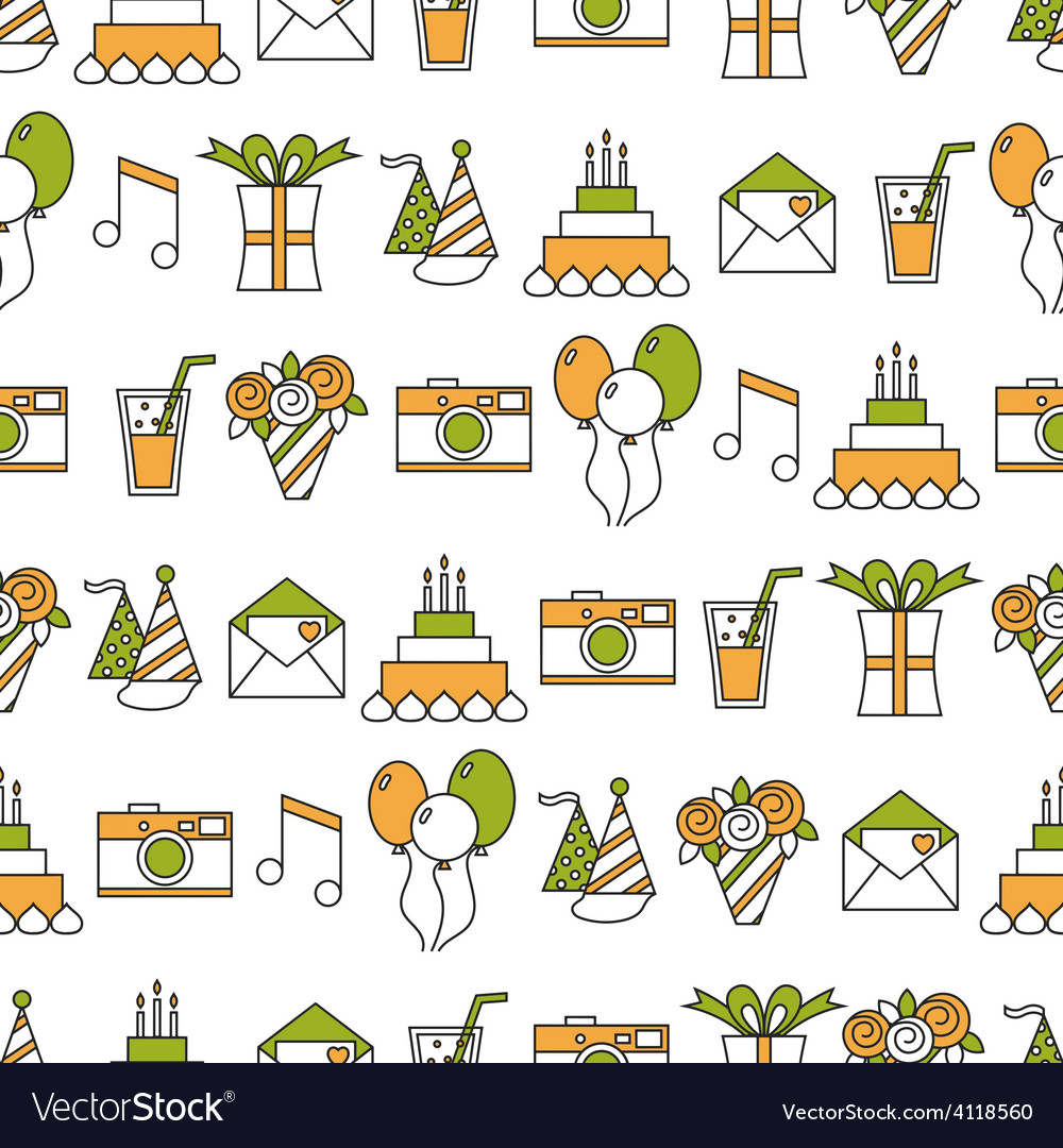 Seamless holiday pattern happy birthday festive vector | Price: 1 Credit (USD $1)