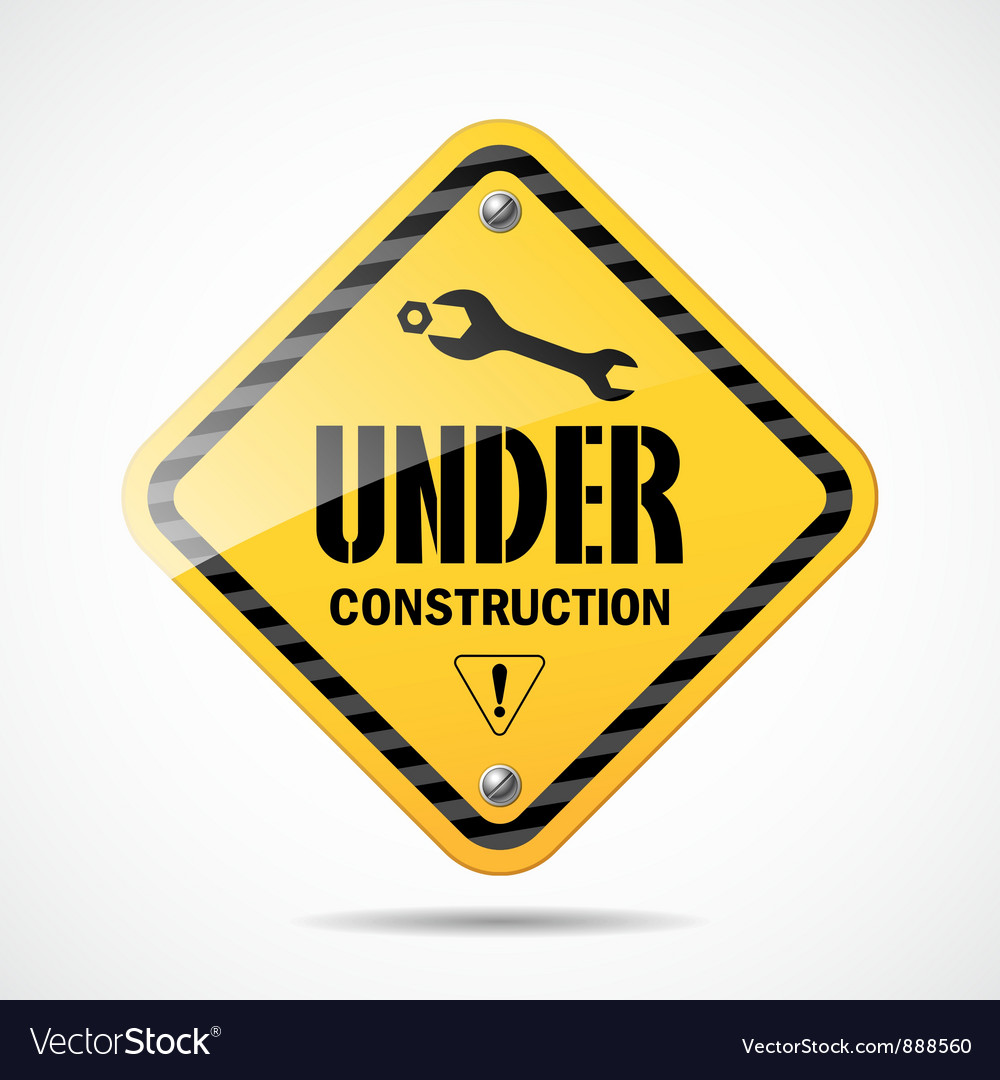 Under construction sign black and yellow vector | Price: 1 Credit (USD $1)