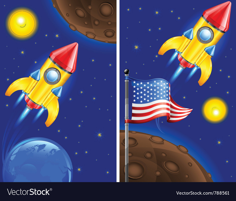 American retro rocket ship vector | Price: 3 Credit (USD $3)