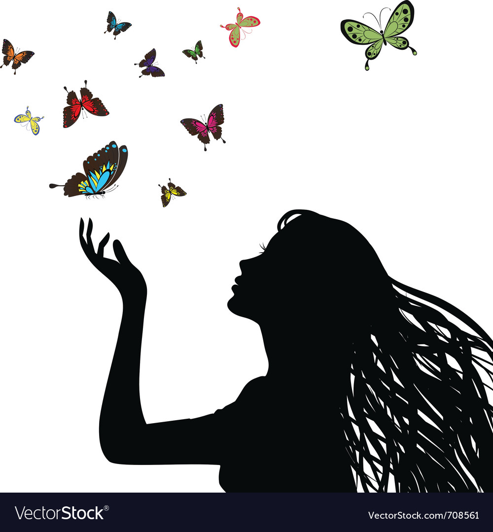 Butterfly girl vector | Price: 1 Credit (USD $1)